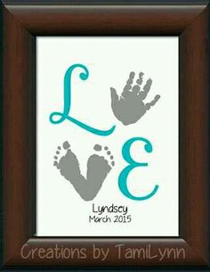Baby Girl LOVE Footprint & Handprint by CreationsbyTamiLynn by wylene - Kinder Ideen Newborn Crafts, Baby Crafts, Cute Crafts, Toddler Crafts, Crafts To Do, Crafts For Kids, Summer Crafts, Toddler Activities, Fathers Day Crafts
