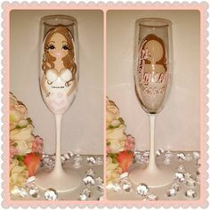 Items similar to Custom Bride to be wedding champagne glass flute, champagne flutes, bridal party wine glasses, champagne glass flutes, personalized champagn on Etsy Champagne Party, Champagne Flutes, Personalized Bridesmaid Gifts, Flower Fashion, Wine Glass, 3 D, Bridal Shower, Hand Painted, Shops