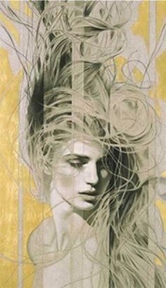 """Manuel Nuñez Art With gold leaf, Manuel reaches new levels of drama and unparalleled richness. Gold plays an important symbolic role, as well. """"My use of gold,"""" he explains, """"is a symbol for. Art And Illustration, Illustrations, Fantasy Kunst, Fantasy Art, Figurative Kunst, Fine Art, Portrait Art, Portraits, Female Art"""