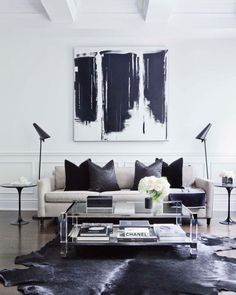 Large scale black and white abstract in a modern minimalist living room