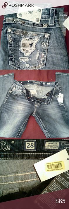NWT Miss Me Jeans New Never Worn MissMe Jeans with proof of Purchase tags for over $110.  Size 28 x 31 (You can have them tailored free at Dillards, Macy's or The Buckle for free)  Standard Fit Easy Straight Cut   Great Factory Distressing and Bling Embellishment Detailing! Miss Me Jeans