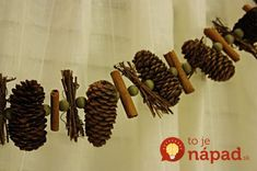 pinecone garland/rustic would love to make a garland made of small pinecones, acorns, black walnuts, cinnamon sticks, Christmas Lodge, Rustic Christmas Ornaments, Primitive Christmas, 12 Days Of Christmas, Country Christmas, Christmas Holidays, Christmas Decorations, Christmas Ideas, Christmas Tree