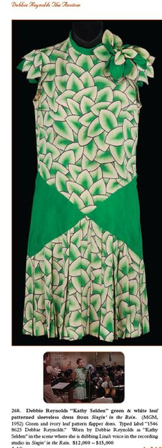 """Debbie Reynolds """"Kathy Selden"""" green and white leaf patterned sleeveless dress from Singin' in the Rain. (MGM, (Sold for over 18 thousand dollars at the Debbie Reynolds Auction Helen Rose, Katharine Hepburn, Lauren Bacall, Vintage Dresses, Vintage Outfits, Vintage Fashion, Vintage Clothing, Rita Hayworth, Rain Costume"""