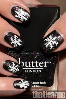 Let it snow! let it snow! let it snow!  White snowflakes on top of Butter London The Black Knight