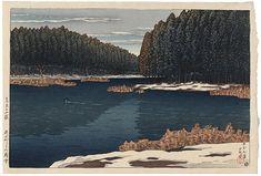 Kawase Hasui (1883-1957): Twelve Scenes of Tokyo: Lingering Snow at Inokashira Park, woodblock print, 1920.
