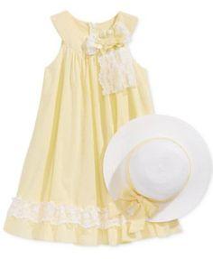 Bonnie Jean U-Neck Dress & Hat, Toddler & Little Girls (2T-6X)