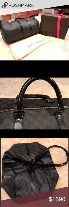 Louis Vuitton Duffle Bag The Keepall Bandouliere 55. 100% authentic black Luis Vuitton graphite duffle bag. Purchased a year ago and has never been used. Still have the receipt, box & dust bag. Even mini dust bag with the key. Louis Vuitton Bags Duffel Bags