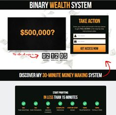 Binary Wealth System – Discover how to make $845 in 13 minutes (live video proof)  My friend David just did something NO ONE has done before…  He shot a 13 minute video showing you one of his broker accounts where he trades *REAL MONEY* right in front of your very eyes…  I've never seen anyone do this before in binary options.  http://binaryoptions24.net/binary-wealth-system/