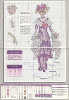 0 point de croix  femme victorienne en mauve et dentelle - cross stitch victorian lady in purple and lace