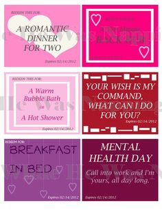 Valentine Coupons For Him/Her