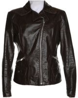 Brown Leather Biker Jacket - M