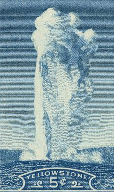 Yellowstone  Old Faithful Geyser  13 x 8 inch by pastpostage, $39.00