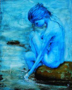 "Stuart Dalby; Acrylic, 2013, Painting ""Blue Belle"""