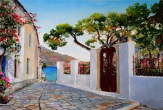 THE ISLAND OF SPETSES  \\ Zografos Pantelis Lyrics. Greece in watercolors