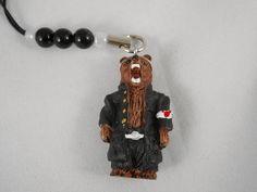 Old Japanese Bad boys Style Brown bear Strap (Black) Hokkaido Japan