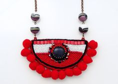 Red Pompom Necklace, Ethnic Necklace, Bead Embroidery Necklace, Long Bohemian Necklace Use PINTEREST coupon at check-out to get 10% OFF!