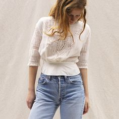 such a pretty blouse - love it worn with denim