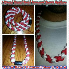 """NEW 20/"""" Custom Clasp Braided Sports Red Green White Tornado Necklace Twisted"""