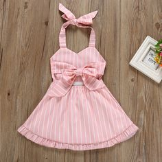Tie-Back Striped Halter Dress