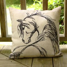 Rustic Horse Head Sketch Throw Pillow - The Painting Pony