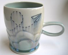 MADE TO ORDER Cloudy Paper Airplane by SilverLiningCeramics, $36.00