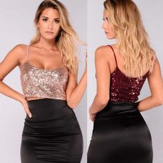 2018 Sequins Bling Shiny Women Party Tank Top Casual Loose Vest Crop Tops New - twinkletopcs Party Crop Tops, Sequin Crop Top, Loose Shirts, Cropped Tank Top, Crop Tank, Ladies Party, Clubwear, Sexy Women, Bling
