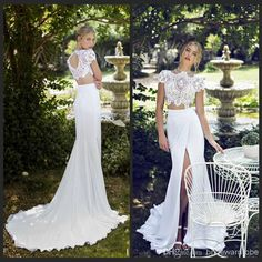 2015 riki dalal summer chiffon beach wedding dresses mermaid high neck lace bodice two piece white front slit backless wedding bridal gowns