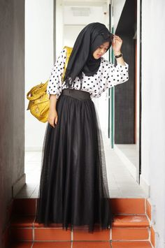 Black skirt  and a polka dot blouse . Classic!  #classic #black #white .... Hijab