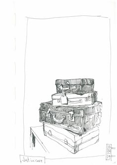 A pile of well-travelled suitcases: this sketch on my Flickr stream had over 22,000 views - amazing!!!!