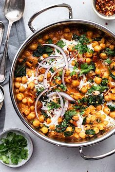 Creamy Chickpea Spinach Curry - Cup of Kale - Entertaining - . - Creamy Chickpea Spinach Curry – Cup of Kale – Entertaining – - Chickpea Recipes, Veggie Recipes, Indian Food Recipes, Vegetarian Recipes, Cooking Recipes, Healthy Recipes, Vegetarian Curry, Vegan Curry, Vegan Recipes Spinach