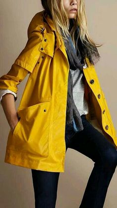 This burst of sunshine rain jacket will soon be mine! Come on