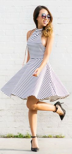 Stripes And Flare Inspiration Dress