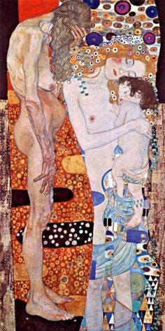 Gustav Klimt: Three Ages of Women, 1905. Galleria Nazionale d'Arte Moderna, Rome. Klimt (1862-1918) was an Austrian symbolist painter and one of the most prominent members of the Vienna Secession movement. Klimt is noted for his paintings, murals, sketches, and other art objects. Klimt's primary subject was the female body; his works are marked by a frank eroticism.