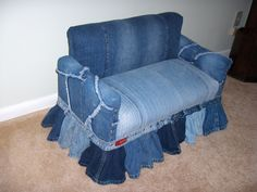 """Childs couch made from old bluejeans and 2x2""""s and plywood."""