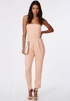 Tailored Bandeau Jumpsuit Blush - Jumpsuits - Missguided
