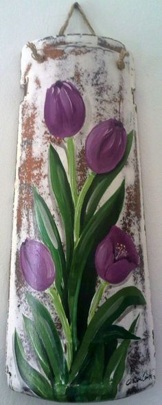 Diy Home Decor Projects, Diy Home Crafts, Acrylic Painting Techniques, Painting On Wood, Ceramic Roof Tiles, Watercolor Scenery, Tile Crafts, Painted Boards, Rustic Art