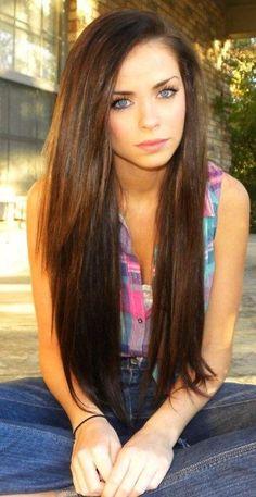 Long straight glossy dark brown brunette hair