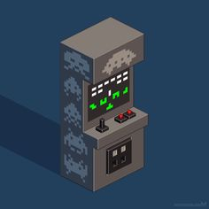 Space Invaders arcade cabinet — isometric pixel art tribute to a ground-breaking 8-bit game.  Available as a print on different items: https://society6.com/sevensheaven  More work: http://metinseven.com  #spaceinvaders #arcade #game #gaming #isometric #pi