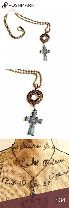 ✨New Cross Charm Pendant Necklace This Mykonos Greek stunning green Patina cross charm features a lightweight cast metal cross  that was crafted in Greece. It has a beautiful etched pattern on one side and smooth on the other. Nickel and lead free. It accompanies a gorgeous antique gold round double sided filigree drop and strung on an antique gold ball chain. ❤️Unique and Lovely❤️Please bundle to Save❤️ Jewelry Necklaces