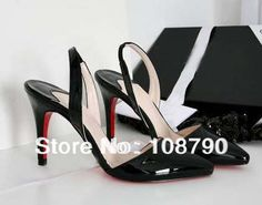 New 2014 Spring Summer Women's Ladies Fashion Vintage Patent Leather Red Bottoms Shoes High Heels Slingback Sandals Pumps