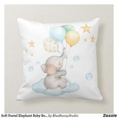 Soft Pastel Elephant Baby Boy Nursery Decor Throw Pillow - home decor design art diy cyo custom Elephant Baby Boy, Elephant Nursery Decor, Baby Boy Nursery Decor, Nursery Room Decor, Baby Boy Rooms, Baby Boy Nurseries, Baby Decor, Nursery Ideas, Baby Room
