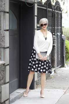 Love this full skirt/sweater combo from Style at a certain age