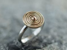 18k gold and sterling silver spiral ring. by MarthaLjewellery