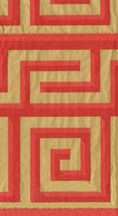 Caspari Greek Meander Red and Gold Printed 3-Ply Paper Guest Towels Wholesale 14000G