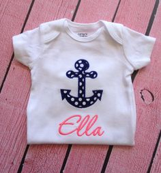 Baby Girl Anchor outfit  Nautical outfit  Baby by SewSoDarling, $23.00