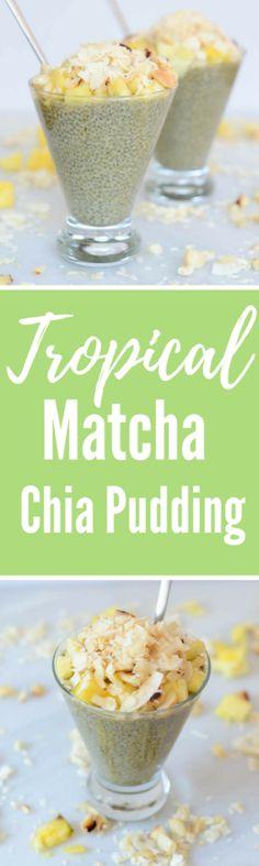 Tropical Matcha Chia Pudding | CaliGirlCooking.com