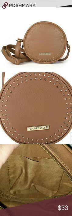 Selling this Rampage stud zip top circular crossbody - Taupe on Poshmark! My username is: lilbunnyfoofoo. #shopmycloset #poshmark #fashion #shopping #style #forsale #Rampage #Handbags