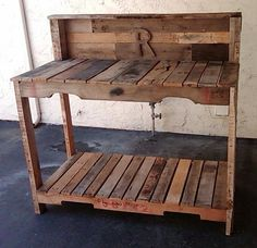 "Molly potting bench....Large pallet chopped into three + 4 ""legs"" and nails"