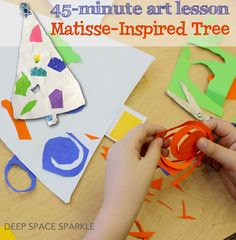 Kids create a Matisse-inspired Christmas tree. Quick and easy holiday craft project for boys and girls.