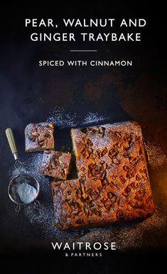 Our pear, walnut and ginger traybake makes a delicious seasonal bake. Tray Bake Recipes, Baking Recipes, Cake Recipes, Dessert Recipes, Waitrose Food, Reeses Cake, Tray Bakes, Pain, No Bake Cake